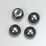 Glass High Dome Cabochon Pearl Dipped - Round 14MM DARK GREY