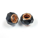 Glass Faceted Bead with Large Hole Copper Plated Center - Round 14x9MM HEMATITE COATED