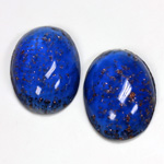 Glass Medium Dome Lampwork Cabochon - Oval 25x18MM GOLD FLECK SAPPHIRE (05054)