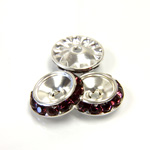 Czech Rhinestone Rondelle Shrag Rivoli Back Setting - Round 15MM outside with 10.5mm (ss47) Recess AMETHYST-SILVER