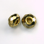 Glass Faceted Bead with Large Hole Gold Plated Center - Round 14x9MM COATGOLD