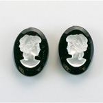 German Plastic Cameo - Woman Oval 18x13MM MATTE CRYSTAL ON JET