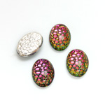 Glass Medium Dome Snakeskin Mosaic Cabochon - Oval 14x10MM HELIO RED