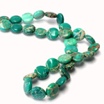 Gemstone Bead - Smooth Round Lentil 10MM SEA SEDIMENT JASPER DYED GREEN