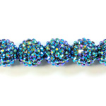 Acrylic Rhinestone Bead with 2MM Hole Resin Base - 18MM METALLIC BLUE
