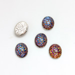 Glass Medium Dome Snakeskin Mosaic Cabochon - Oval 10x8MM HELIO BLUE