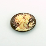 Plastic Cameo - Double Heads Oval 25x18MM ANTIQUE IVORY BROWN