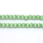 Fiber-Optic Synthetic Bead - Cat's Eye Smooth Round 04MM CAT'S EYE LT GREEN