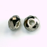 Glass Faceted Bead with Large Hole Silver Plated Center - Round 14x9MM HEMATITE