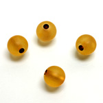Plastic Bead - Bronze Lined Veggie Color Smooth Large Hole  Round 10MM MATTE TOPAZ