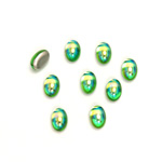 Glass Medium Dome Foiled Cabochon - Coated Oval 06x4MM PERIDOT AB