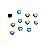 Glass Medium Dome Cabochon - Coated Heart 04x4MM JET AB