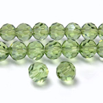 Chinese Cut Crystal Bead 32 Facet - Round 06MM LIGHT GREEN with SILVER CHAMPAGNE COAT