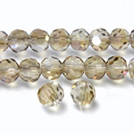 Chinese Cut Crystal Bead 32 Facet - Round 06MM CRYSTAL with SILVER CHAMPAGNE
