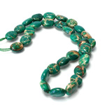 Gemstone Bead Smooth Lentil Oval 10x8MM SEA SEDIMENT JASPER DYED GREEN
