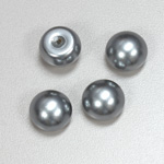 Glass High Dome Cabochon Pearl Dipped - Round 14MM LT GREY