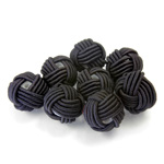 Woven Cotton Glass Base Bead - Round 10MM BLACK (100)