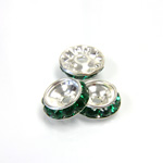 Czech Rhinestone Rondelle Shrag Rivoli Back Setting - Round 12MM outside w 08mm (ss38) Recess EMERALD-SILVER
