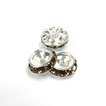 Czech Rhinestone Rondelle Shrag Rivoli Back Setting - Round 12MM outside w 08mm (ss38) Recess SMOKE TOPAZ-SILVER