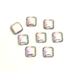 Glass Low Dome Foiled Cabochon - Square Antique 06x6MM CRYSTAL AB